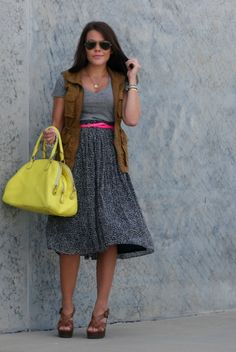 Glitter and Gingham : a short girls trick to a midi skirt