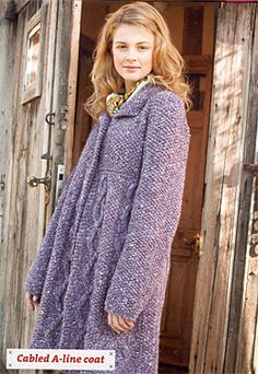 Debbie Bliss The Big Easy cabled a-line coat...in donegal luxury tweed chunky
