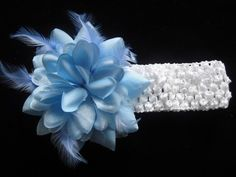 blue feathers and flower headband hair bow, hair clip infant to adult | bowsandbling2 - Children's on ArtFire