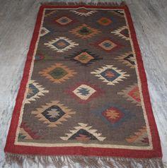 Anatolian Turkish Antalya Kilim Runner 3x5 ft Area Rug Runner Carpet Wool Jute #Turkish