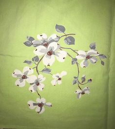 Vintage Wilendur Dogwood Flower Lime Green Tablecloth