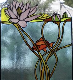 Stained glass window panel - underwater lily pond (in master bath in front of jacuzzi) Stained Glass Studio, Stained Glass Quilt, Stained Glass Light, Custom Stained Glass, Stained Glass Flowers, Stained Glass Designs, Stained Glass Panels, Stained Glass Projects, Stained Glass Patterns