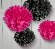 Tissue Paper Pom Poms in Hot Pink and Black  Set of 4 by PomGarden, $14.00