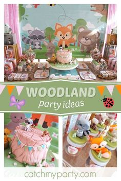 Take a look at this pretty woodland birthday party! The birthday cake is fantastic! See more party ideas and share yours at CatchMyParty.com #catchmyparty #partyideas #woodlandparty #girlbirthdayparty