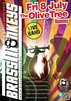PBrassMonkeys are excited to play 'the best pub in Romsey' The Olive Tree, 11 Latimer Street, Romsey, SO51 8DF on Friday 8 July 2016. Wilson Pickett, Chicago Tours, Best Pubs, Mark Ronson, Kings Of Leon, Robbie Williams, Marvin Gaye, Live Band, James Brown