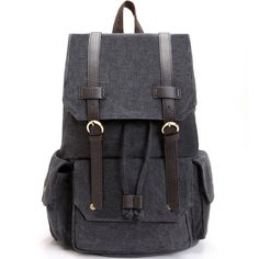 Zebella Canvas Leather Laptop Backpack 15.6 inch Daypack Shoulder Weekender Bag * Be sure to check out this awesome product.