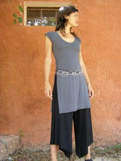 Grey womens top tunic Tibetan wrap tunic with slits-Wrap top