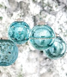 Beautiful Mercury Glass Ornaments with a touch of sparkling bling…  gorgeous!