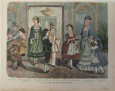 """Fancy dress for kids, 1873, source not given  (Left to right) Page, ancient German baroness, Italian girl, cavalier, clown, waiting-maid, lady of the Renaissance, peanist (sic) girl  """"Mommy, I want to be an ancient German baroness for Lillie's birthday party!"""""""