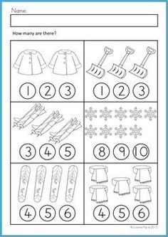 Math Worksheets & Activities No Prep Math Worksheets & Activities - Winter (Beginning Skills). A page from the unit: Counting worksheetMath Worksheets & Activities - Winter (Beginning Skills). A page from the unit: Counting worksheet Math Literacy, Preschool Math, Kindergarten Worksheets, Teaching Math, Pre K Activities, Learning Activities, Kids Learning, Learning Shapes, Math For Kids