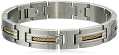 Mens Stainless Steel and Gold-Tone IP Cable Inlay Link Bracelet - JCPenney Bracelets For Men, Link Bracelets, Photo Jewelry, Fine Jewelry, Stainless Steel Cable, Bangles, Mens Fashion, Metal, Gold