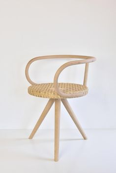 Unique hand caned rattan chair from the Matmatic collection by Dutch design company JONGHLABEL. The design of the new stool is a tribute to the beautiful bended wood chairs of Thonet. Furniture, design, craft