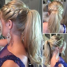 braid and ponytail for long blonde hair