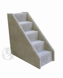 5-Step Mini pet stairs designed for smaller animals and dogs with shorter legs.  The steps are constructed from plywood and are covered with plush cut-pile commercial carpet. Choose from beige, blue, or gray. http://www.moorepet.com/5-Step-Mini-Pet-Stairs-p/mini-5step-stairs.htm