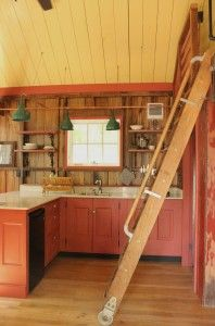 A Blue Moon Rising tiny house kitchen , built by Hobbitat - For rent in Deep Creek MD.