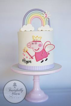 Tastefully Yours Cake Art - Posts Peppa Pig is really a British preschool lively telly Peppa Pig Birthday Cake, Birthday Cake Girls, Peppa Pig Cakes, 2nd Birthday Cake Girl, Cumple Peppa Pig, Pig Party, Girl Cakes, Cake Art, Party Cakes