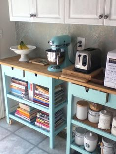 Painted Ikea Kitchen Cart And Ice Blue Kitchenaid Mixer Olive