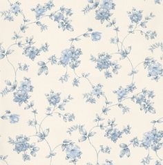 Fleurs et Toile (CG28845) - Galerie Wallpapers - A pretty floral trail on a vinyl backing. Shown here in blue on a white background. Please request a sample for true colour match. Free pattern match.