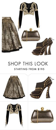 """""""Black & gold"""" by mireille-a ❤ liked on Polyvore featuring Versace, Miu Miu, For Love & Lemons and Halston Heritage"""