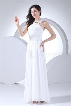 Robe de soirée pas cher blanche col montant décoration perlée en chiffon