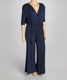 Look what I found on #zulily! Navy Surplice Palazzo Jumpsuit - Plus by Loveappella #zulilyfinds