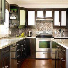dark kitchen cabinets, backsplash