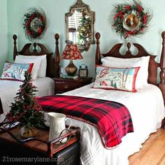 Winter Bedroom Decor, Cute Bedroom Decor, Bedroom Themes, Pretty Bedroom, Bedroom Ideas, Awesome Bedrooms, Cool Rooms, Christmas Bedding, Dreams Beds