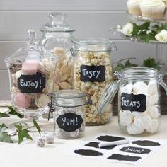 Ginger Ray Reuseable Chalkboard Sticker Labels X 12 with Chalk - Jam Jar Blackboard: Amazon.co.uk: Kitchen & Home
