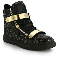 Giuseppe Zanotti Quilted Double-Bar High-Top Sneakers