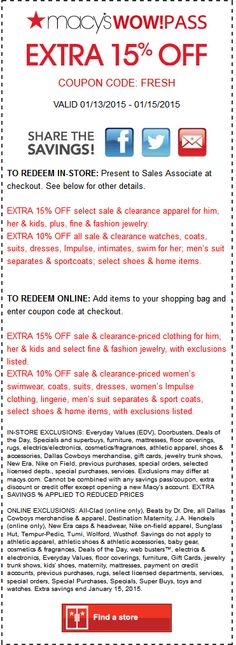 coupon for coach outlet ja1i  Pinned January 12th: Extra 15% off at #Macys, or online via promo code  FRESH #coupon via The #Coupons App