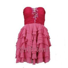 Light and Dark Pink Rhinestone Ruffle Dress