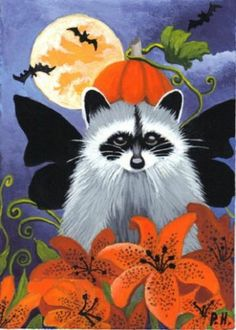 ACEO Print Raccoon Pumpkin Bat Lily Moon | eBay