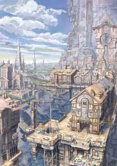 ✮ ANIME ART ✮ cityscape. . .city. . .rooftops. . .clock tower. . .architecture.  . .clouds. . .amazing detail. . .fantasy