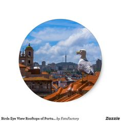Birds Eye View Rooftops of Portugal Classic Round Sticker