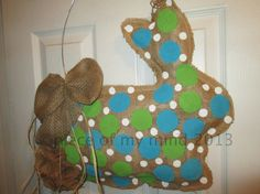 Burlap Door Hanger Bunny with Tail by nursejeanneg on Etsy, $30.00