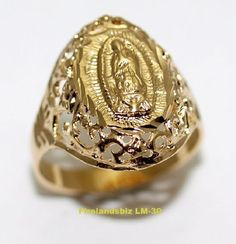 Our Lady of Guadalupe Ring Gold Layered Hispanic Jewelry Womans Ring Cute Jewelry, Bridal Jewelry, Cross Jewelry, Jewelry Accessories, Leaf Engagement Ring, Rainbow Quartz, Our Lady, White Gold Rings, Silver Ring