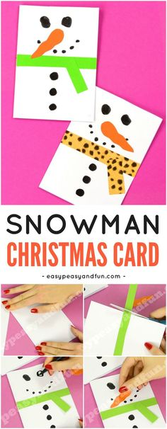 DIY Snowman Christmas Card Idea for Kids to Make. Fun Christmas Paper Craft for . - Before After DIY Christmas Paper Crafts, Homemade Christmas Cards, Preschool Christmas, Christmas Snowman, Diy Snowman, Christmas Card Ideas With Kids, Snowmen, Homemade Cards, Winter Crafts For Kids