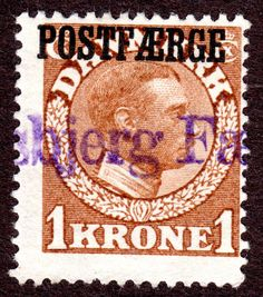 Denmark Scott  #Q11 (Pf10) 1Kr Yellow Brown 1919-41 Used Postal Ferry Cancel