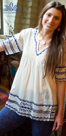 Darlin' Blue Peasant Top #soulflower #embroidered #hippie #style