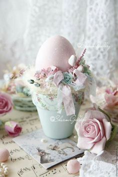 Easter Egg in flower pot, pastels