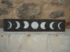 Moon Phases Hand Painted Barnwood Sign by ForestandRoot on Etsy