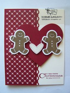 """Heart gingerbreadmen **** SU """"Scentsational Season"""" stamp image & """"Holiday Collection"""" Framelits Dies, 2012 Holiday Mini. (dup pin)"""