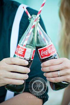 Vintage coke bottle engagement @J & E Fusion Photography  <3