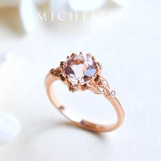 Crystal Engagement Rings, Floral Engagement Ring, Morganite Engagement, Vintage Engagement Rings, Wedding Engagement, Engagement Jewelry, Vintage Rings, Vintage Jewelry, Ring Set