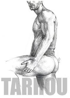 Tarrou sketch pencil on paper from Outback Dusk Paul Freeman's book. More on http://notasdeunviajealternativo.tumblr.com/ Gay art naked man male nude