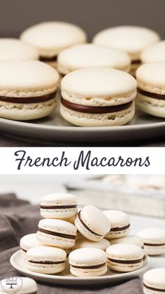 "Step-by-step tutorial for how to make French macarons. You can't go wrong with this perfected macaron recipe. You get soft chewy shells with the signature ""feet"" every single time! Food Recipes For Dinner, Food Recipes Deserts Vanilla Macaron Recipes, French Macaroon Recipes, French Macaroons, Vegan French Macarons Recipe, Macarons Recipe Without Almond Flour, French Macaron Flavors, Easy Macaron Recipe, Macarons Filling Recipe, Basic French Macaron Recipe"