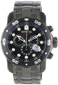 Invicta Men's 0693 Pro Diver Chronograph Gunmetal Stainless Steel Watch Invicta. $146.75. Chronograph functions with 60 second, 30 minute and 12 hour subdials; Date function. Swiss Quartz movement. Flame-fusion crystal; Black and gunmetal stainless steel case and bracelet. Black carbon fiber dial with silver tone hands and hour markers; Luminous; Black unidirectional bezel; Magnified date window. Water-resistant to 660 feet (200 M)