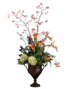 "Large-Cally Lily Silk Flower Arrangment ARWF2899. 48""Kangoroo's Paw/Cally Lily in metal urn Orange Rust"
