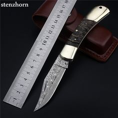 Damascus Folding Knife - Stenzhorn 8.5cm Folding Knife - Damascus Merchant  Buy Now at https://www.damascusmerchant.com/stenzhorn-2017-new-arrival-swedish-powder-damascus-knife-outdoor-self-defense-portable-folding-claw-saber-fruit-small-knives/ - FREE Shipping Worldwide