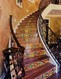 Stair Risers-Darby Freeman and Roxana Nizza Mosaic Art, Mosaic Glass, Mosaic Tiles, Stained Glass, Tiling, Mosaic Stairs, Tile Stairs, Stair Risers, Stair Steps
